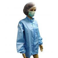 Antistatic Cleanroom Jackets 5mm Grid Polyester YKK Zip with Logo Printing