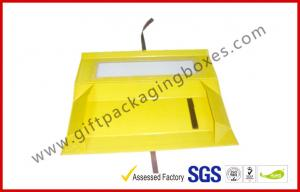 China Foldable Yellow Customized Gift Packaging Boxes With Big Window , Magnetic Flat Packing Gift Box on sale