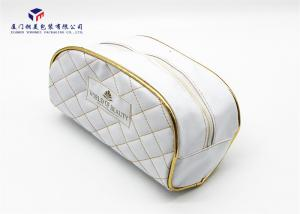 China Elegant Patterns Leather Cosmetic Bag Rectangle With Round Corner White Color on sale