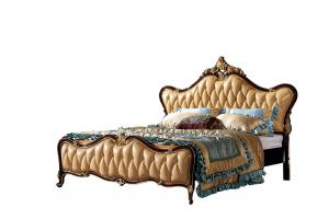 China Black painting and gold leaf Solid Wood King Size Royal Wooden Design Leather Bed on sale