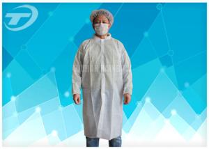 China Non - Woven Disposable Lab Coats With Velcro Fastening Soft And Breathable on sale