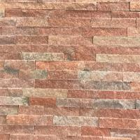 Peach Pink Quartzite Ledge Wall Stone Cladding For Fireplaces Or Planter Walls
