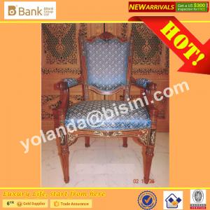 China (BK0109-0015C) Imperial Blue Luxury Wood  Dining Chairs, European Style Antique Marquetry Royal Palace  Dining Furniture on sale