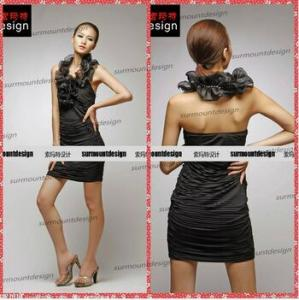 China Mini Women Sexy Organza Fabric Halter Black Party Dresses Teenagers China on sale