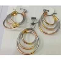 Costume Jewelry Three Color Pendant and Earrings Fashion Jewelry Sets for Women