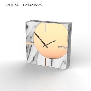China Mini Fancy Concrete Alarm Concrete Wall Clock With Marble Effect And Gold Spraying on sale