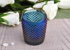 China Machine Made navy blue glass cylinder candle holder Embossed Cross Line on sale