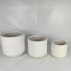China Factory sale high strength durable top quality outdoor garden white round fiberglass clay modern cylinder pot on sale