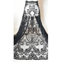 China Black Floral Embroidery Alencon Lace Fabric With Beads , Ivory Wedding Lace Fabric on sale