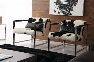 Elegant Single Seat Modern Upholstered Chairs , Luxury Metal Leather Office Chair , Cowhide Leather Chair