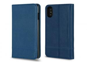 China Shinny Heat Setting Blue Leather Mobile Phone Covers For Apple IPhone 10 on sale
