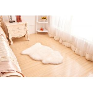 China 100% genuine long fur cream shaggy natural sheepskin rug brown lamskin carpet blank grey sheep fur blanket  wool rug on sale