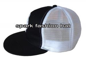 Quality Fashion design branded flat brim trucker mesh hat with embroidery logo for sale