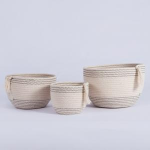 China Decorative custom woven cotton rope laundry toys candy storage fabric small round container wholesale spa gift baskets s on sale