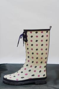 China Flat Floral Ladies Womens Rain Boot For Winter ,With Slip Resistent on sale