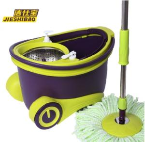 China 360 degrees spin mop, walkable bucket, stainless steel basket, on sale
