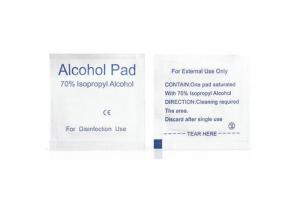 China Non - Woven 70% Isopropyl Alcohol Cleaning Wipes 65x30mm / 60x60mm For Skin Care on sale