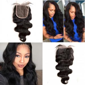 China Brazilian Virgin Hair Lace Top Closure Body Wave Free Middle Three Parting on sale