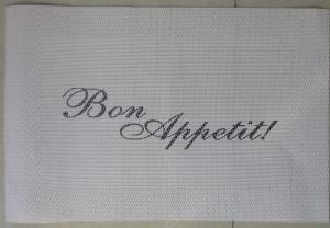 China PVC restaurant table mats/ Textilene fabric easy to clean reusable. On the mat can print your logo on sale