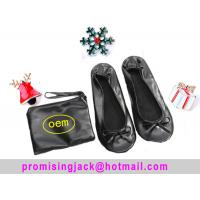 2018 Hot Selling PU Material Roll up and Foldable Ballet Shoe with Free Bag, Christmas Gift Shoes