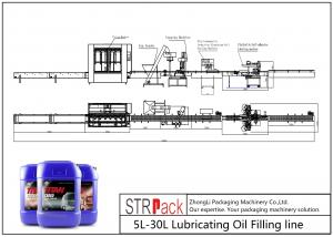 China Lubricating Oil Automatic Filling Line 5L - 30L Net Weigh Filling Machine on sale
