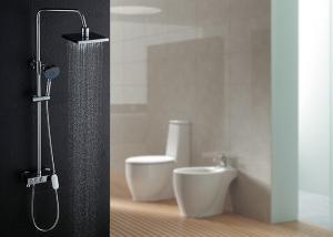 China Handheld Head Adjustable LED Shower Set Brushed Surface ROVATE With Slid Bar on sale
