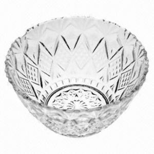 China Embossed Glass fruit bowl, Customized designs are accepted on sale