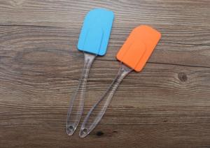 China Food Grad Silicone Kitchen Utensils , Silicone Scraper Spatula With Transparent Oval Handle on sale