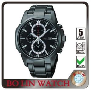 China Pvd Black Sapphire Chronograph Waterproof Mens Watches Changeable Strap on sale