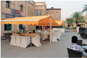 China Coffee Shop Awning You Can Use Remoto Control Or Handle Extend and Shrink , Garden Awnings on sale