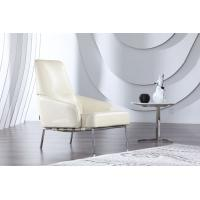 Luxury Leather Arm Chair , Office White Modern Upholstered Chair , Italian leather armchair