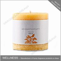 China Colorful Long Lasting Scented Pillar Candles With Customized Round Logo Sticker on sale