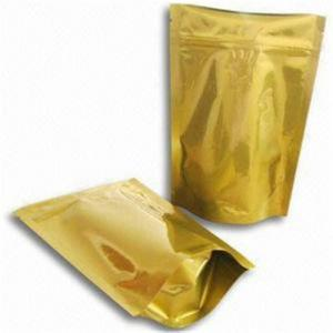 China Gold Glossy Plastic Pouches Packaging With Zipper / Gold Printing Packaging Bag on sale