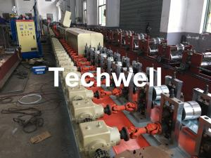 China Aluminum , Carbon Steel Pu Foam Rolling Shutter Door Making Machine With Servo Tracking Flying-Saw Cutting on sale