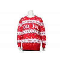 Men Crew Neck Best Christmas Sweater Red And White Letter Crossword In Acrylic