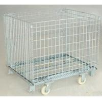 collapsible heavy-duty rigid mesh box wire cage metal bin storage container with caster