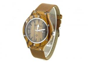 China Custom Luxury Wooden Watch With Leather Band , Simple Design Metal Nails On The Bezel on sale
