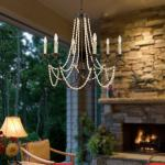 French iron chandelier with Wooden Bead Chains for Dining room Restaurant (WH-CI-08)