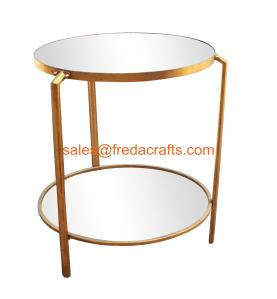China Double mirror top coffee table in gold finish for living room furniture wholesale on sale