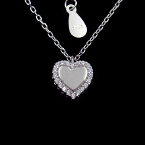 China OEM Sterling Silver Pendant Necklace / Cubic Zirconia Heart Necklace on sale