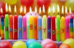 Fancy Rainbow Color Long Birthday Candles With Happy Birthday Letters Painted
