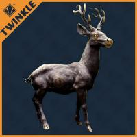 Outdoor Marble Deer Natural Stone Sculptures With Bronze Colour