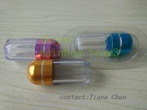 China Blue Transparent Pill Vials / Waterproof Small Plastic Pill Containers With Metal Cap on sale