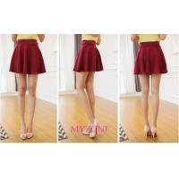 China Hot Sexy Women High Waist Plain Skater Flared Pleated Casual Cotton Mini Skirt on sale