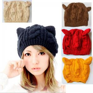 China Women's Cat Ear Beanie Knitted Cap Winter Knitted Beanie on sale