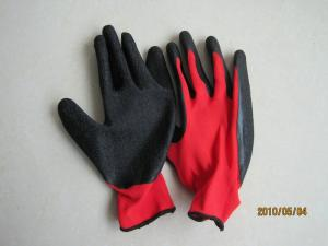 China 13gauge polyester with latex coated glove crinkle finished on sale