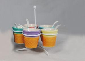 China Customized Ceramic Houseware Mini Ice Cream Cups With Spoon / Metal Rack on sale