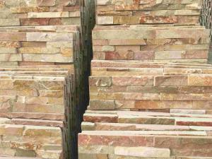 China Stacked Panel,  Yellow Slate Wall quartzite (slate) Stacked stone,Ledgstone Tiles On Ptomotion on sale