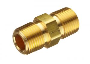 China Brass CNC Fittings / Straight Pipe Fittings Hex Male Reducing Nipple on sale