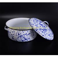 blue+white uni-color cast iron kitchen cookware enamel soup pot